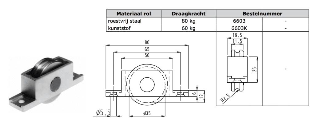 Sobinco sobilon enkel schuifpui loopwiel nylon 60kg