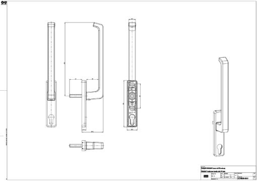 tekening schuipui hendel met cilindergat